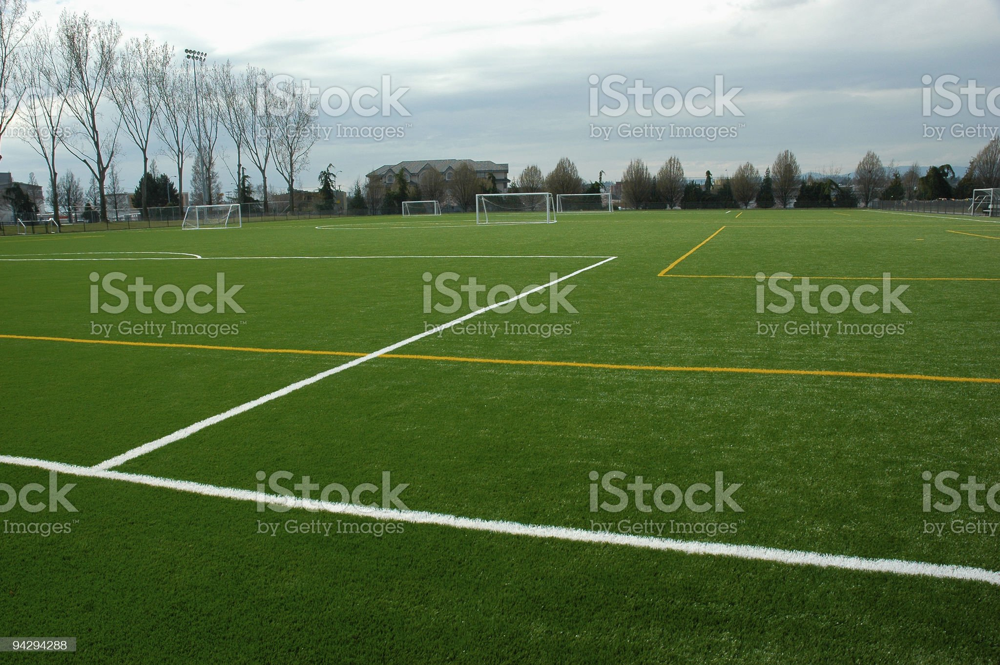 Soccer field with artificial turf royalty-free stock photo
