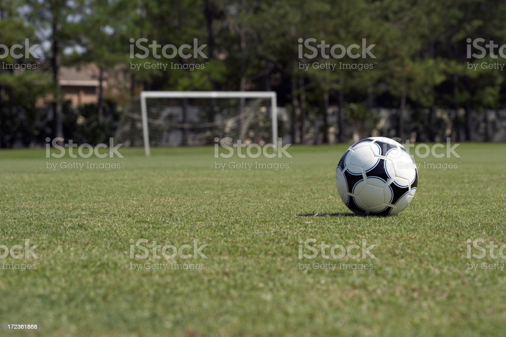 soccer field with soccer ball royalty-free stock photo