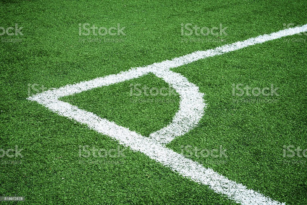 soccer field-corner stock photo