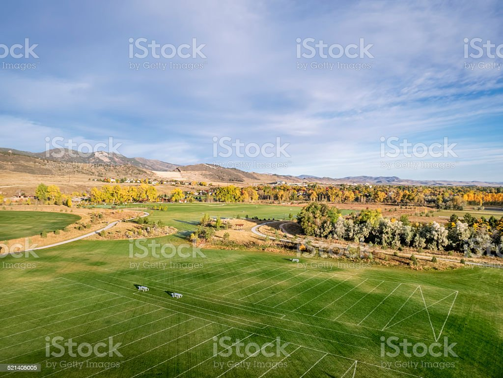 soccer fields aerial view stock photo