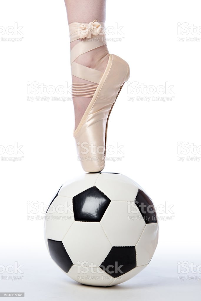 Soccer - Football and Ballet Shoe stock photo