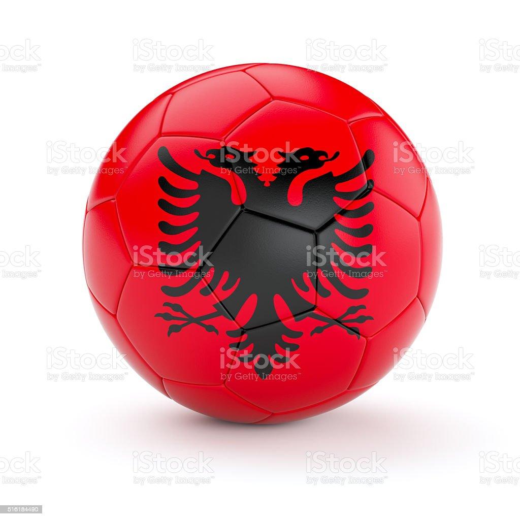 Soccer football ball with Albania flag stock photo