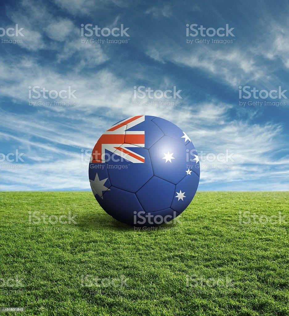 Soccer football ball with Australia flag royalty-free stock photo