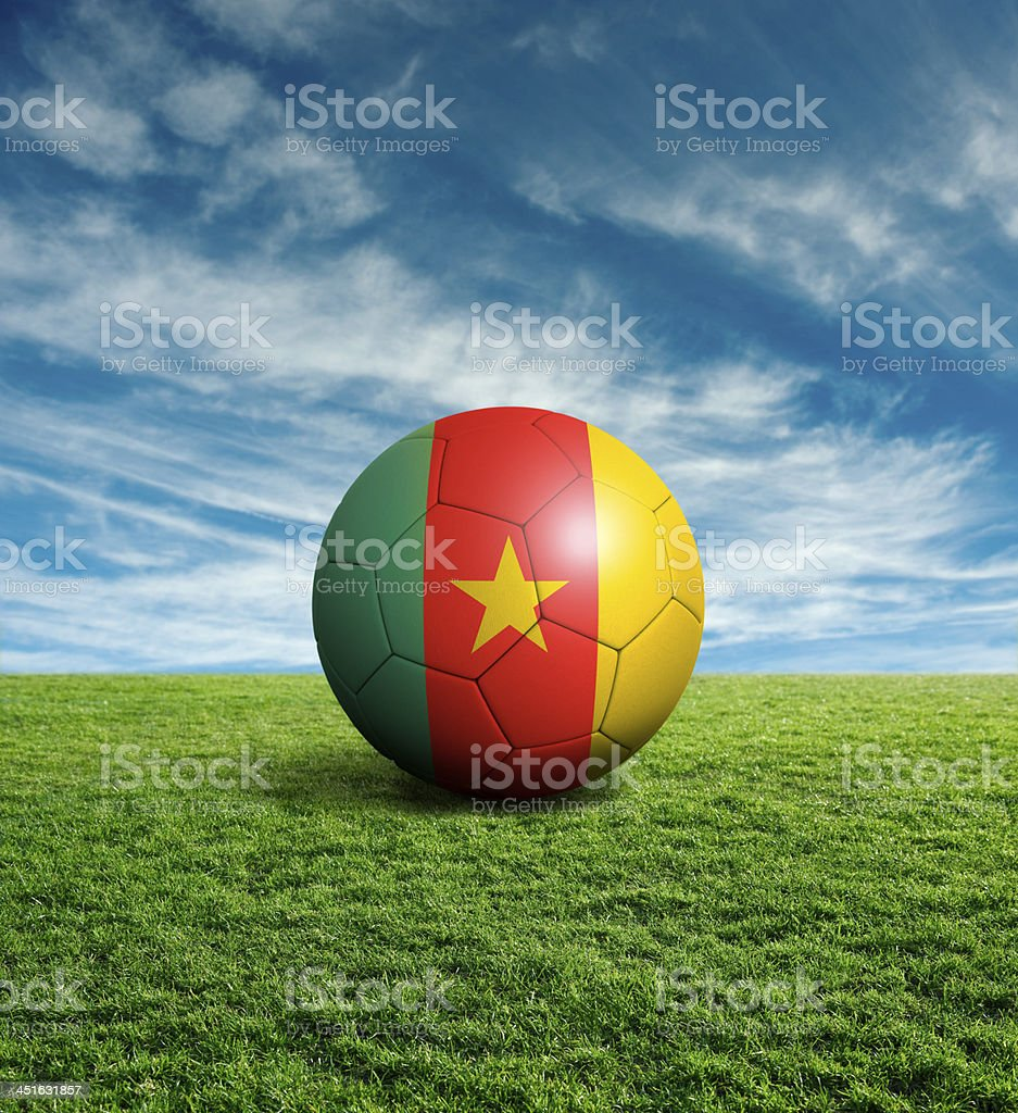 Soccer football ball with Cameroon flag royalty-free stock photo