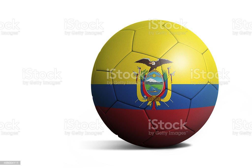Soccer football ball with Ecuador flag stock photo