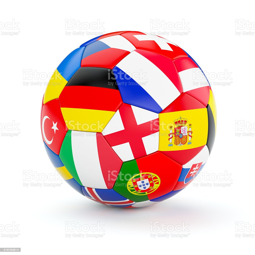 Soccer football ball with Europe countries flags stock photo
