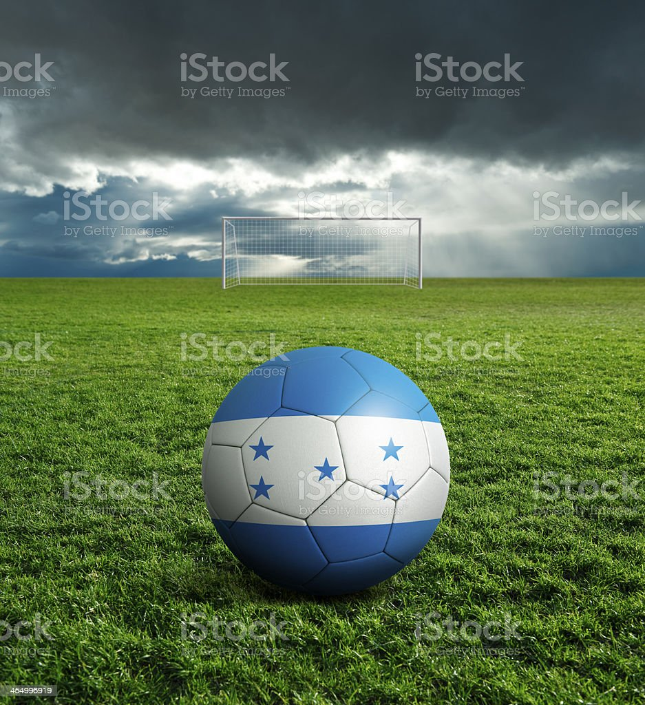 Soccer football ball with Honduras flag royalty-free stock photo