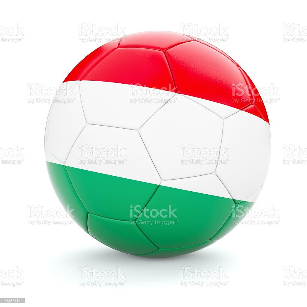 Soccer football ball with Hungary flag stock photo