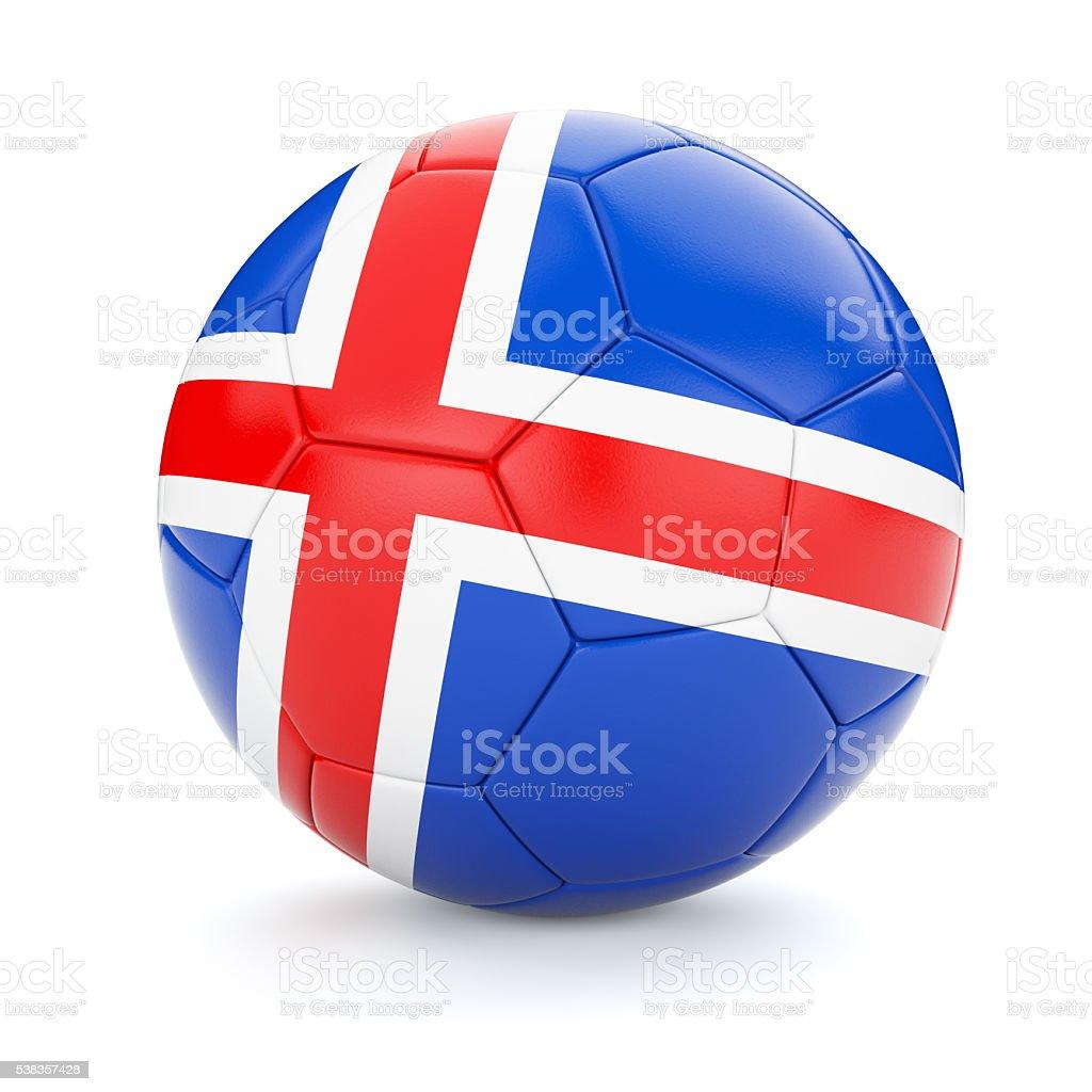 Soccer football ball with Iceland flag stock photo