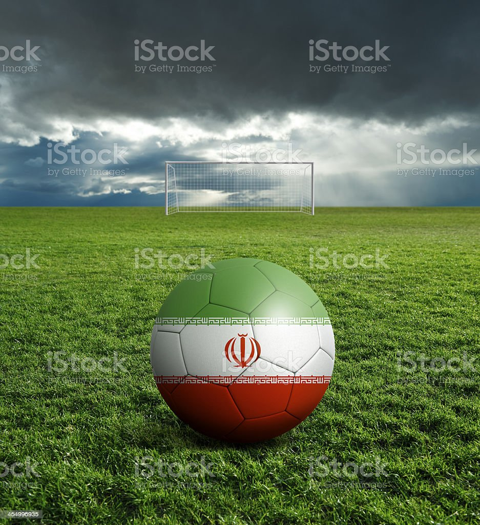 Soccer football ball with Iran flag royalty-free stock photo