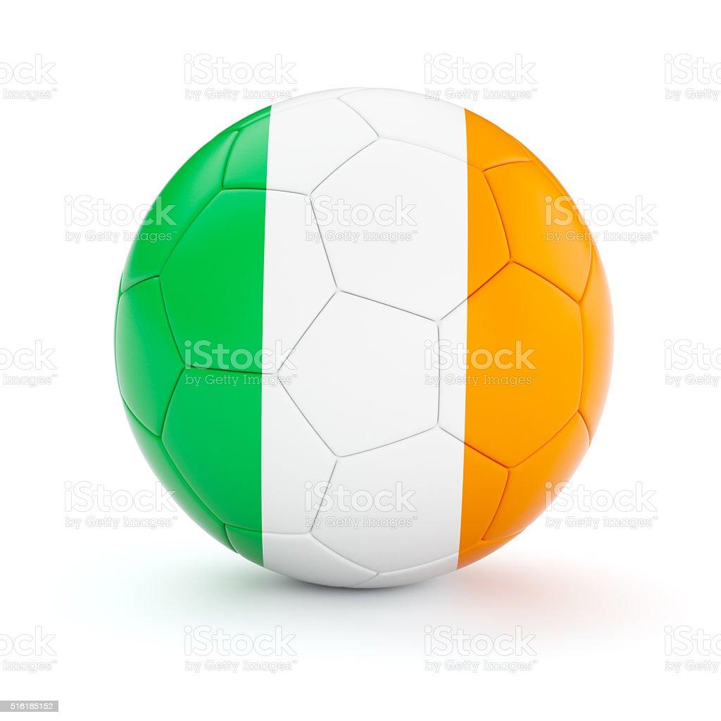 Soccer football ball with Ireland flag stock photo