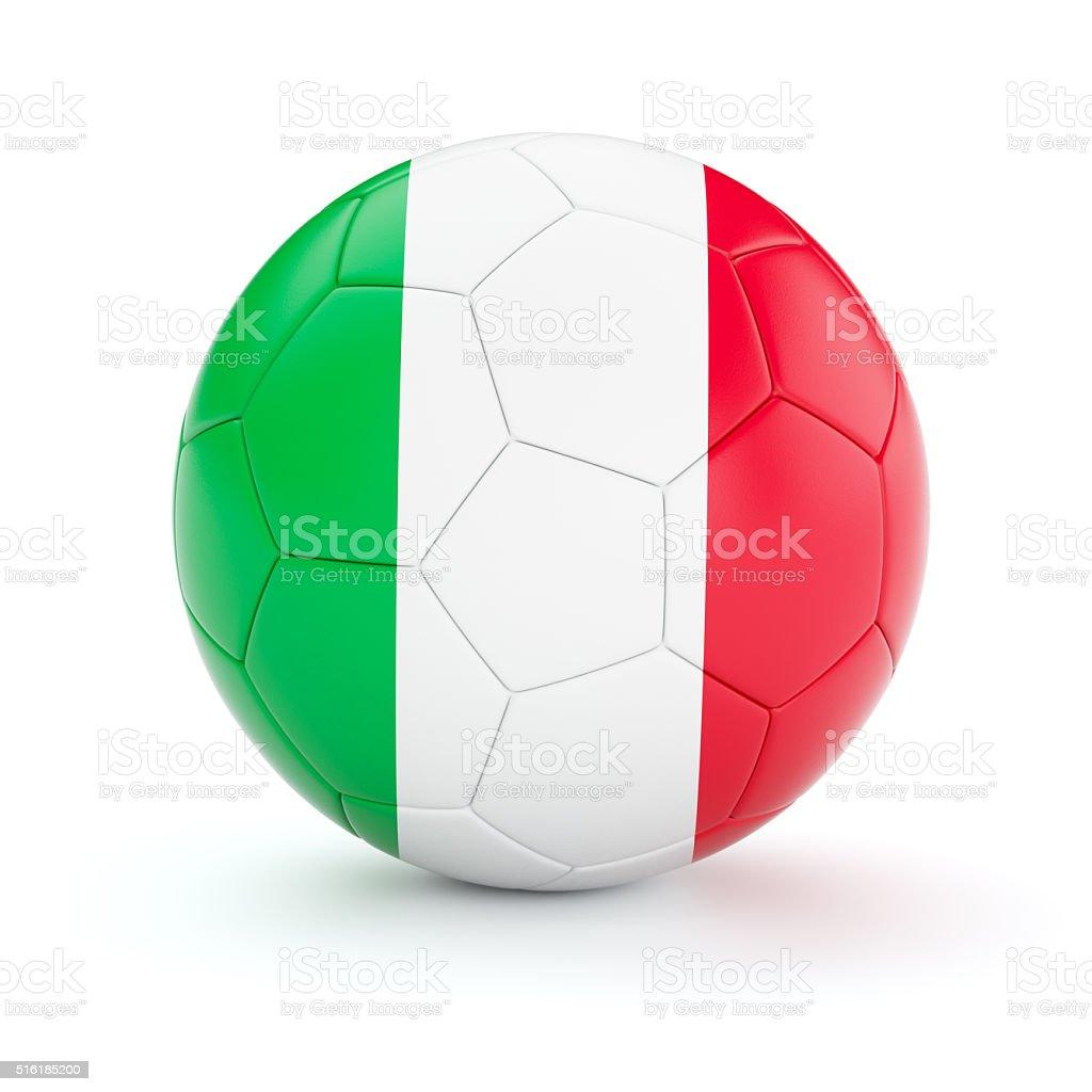Soccer football ball with Italy flag stock photo