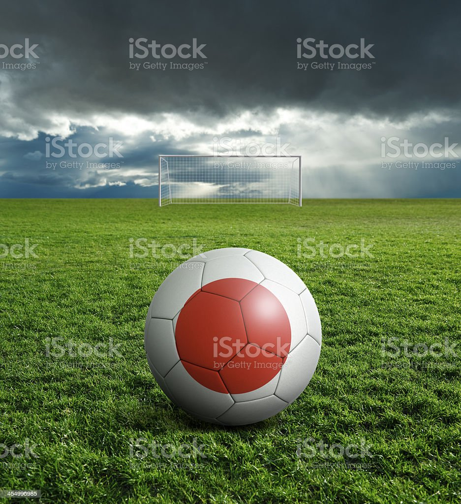 Soccer football ball with Japan flag royalty-free stock photo