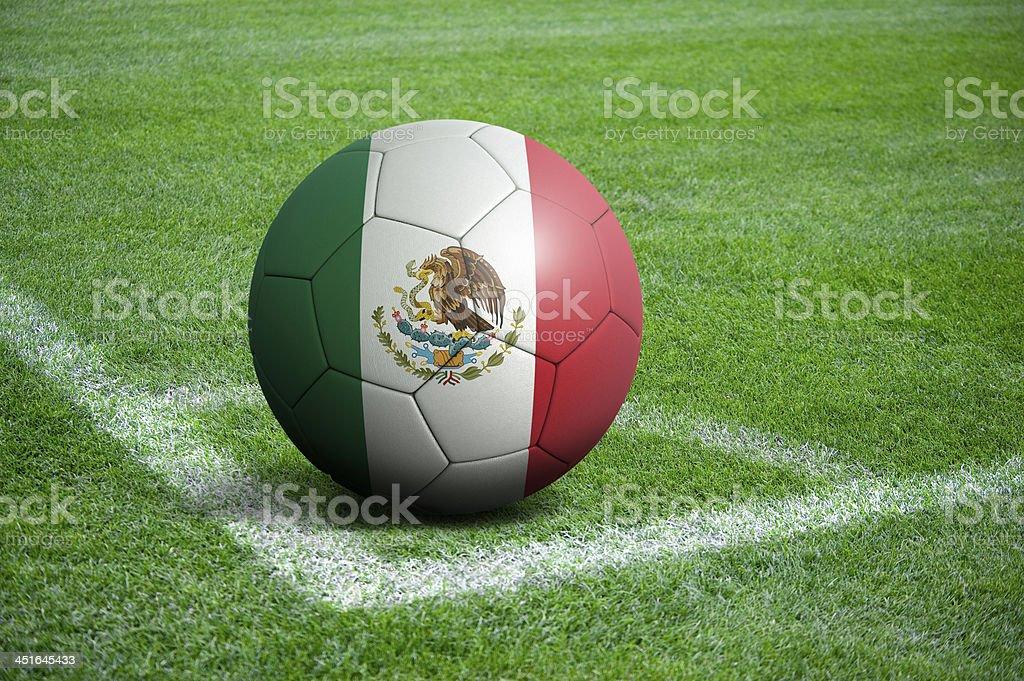 Soccer football ball with Mexico flag stock photo