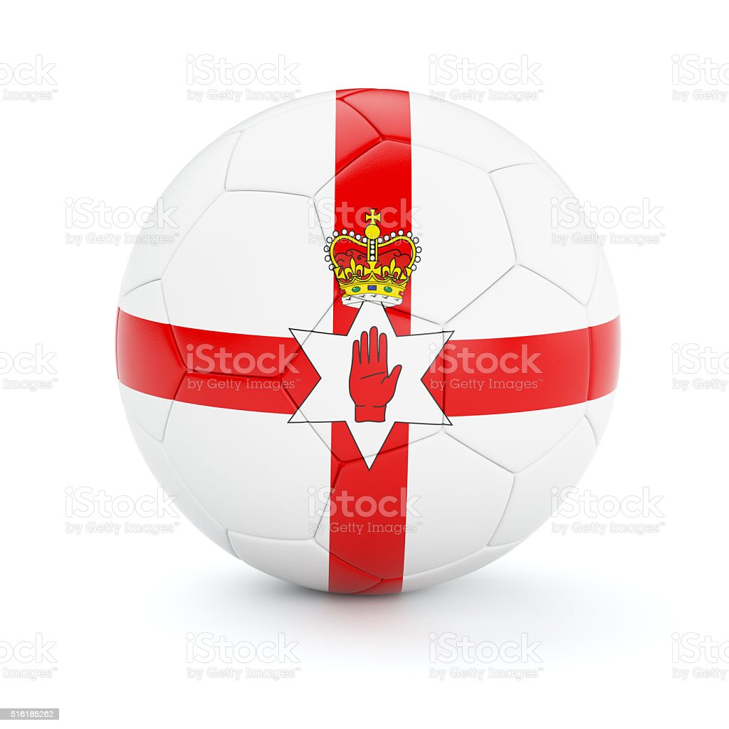 Soccer football ball with Northern Ireland flag stock photo