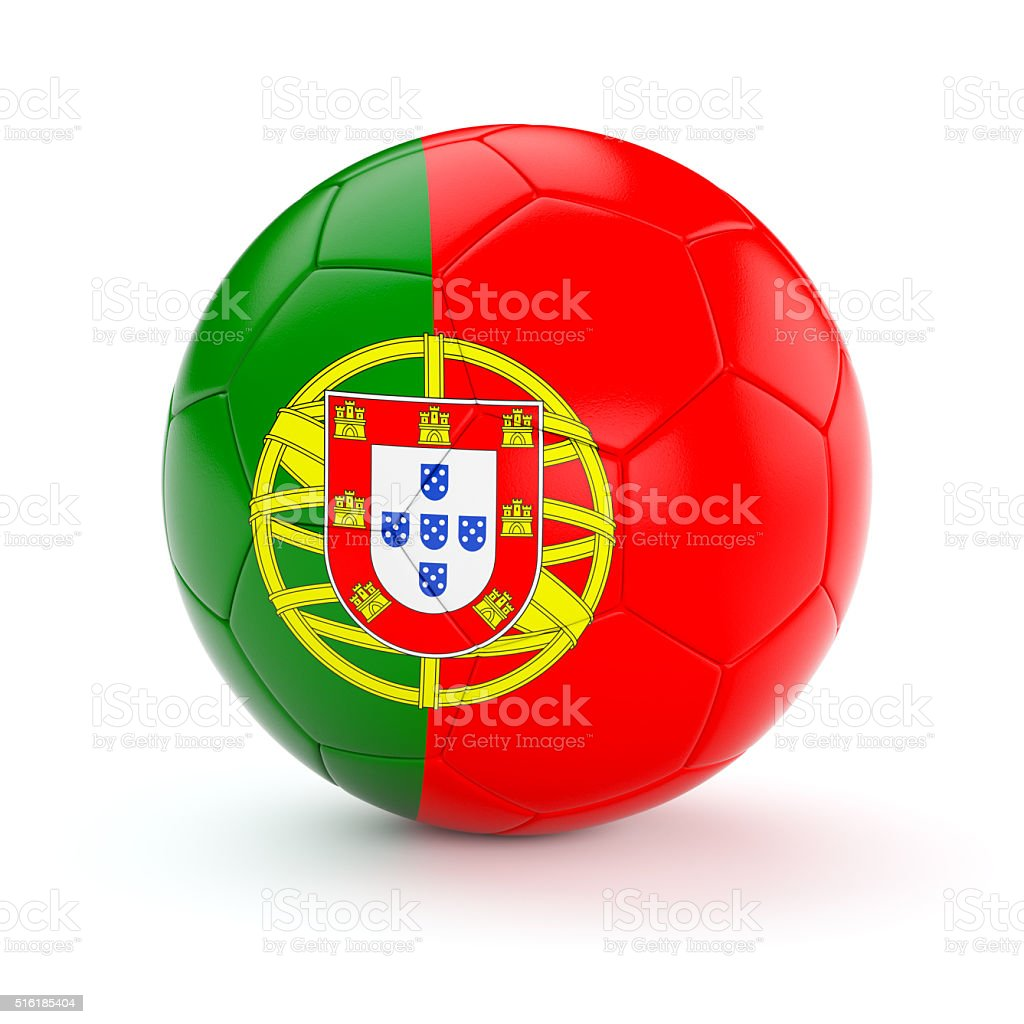 Soccer football ball with Portugal flag stock photo