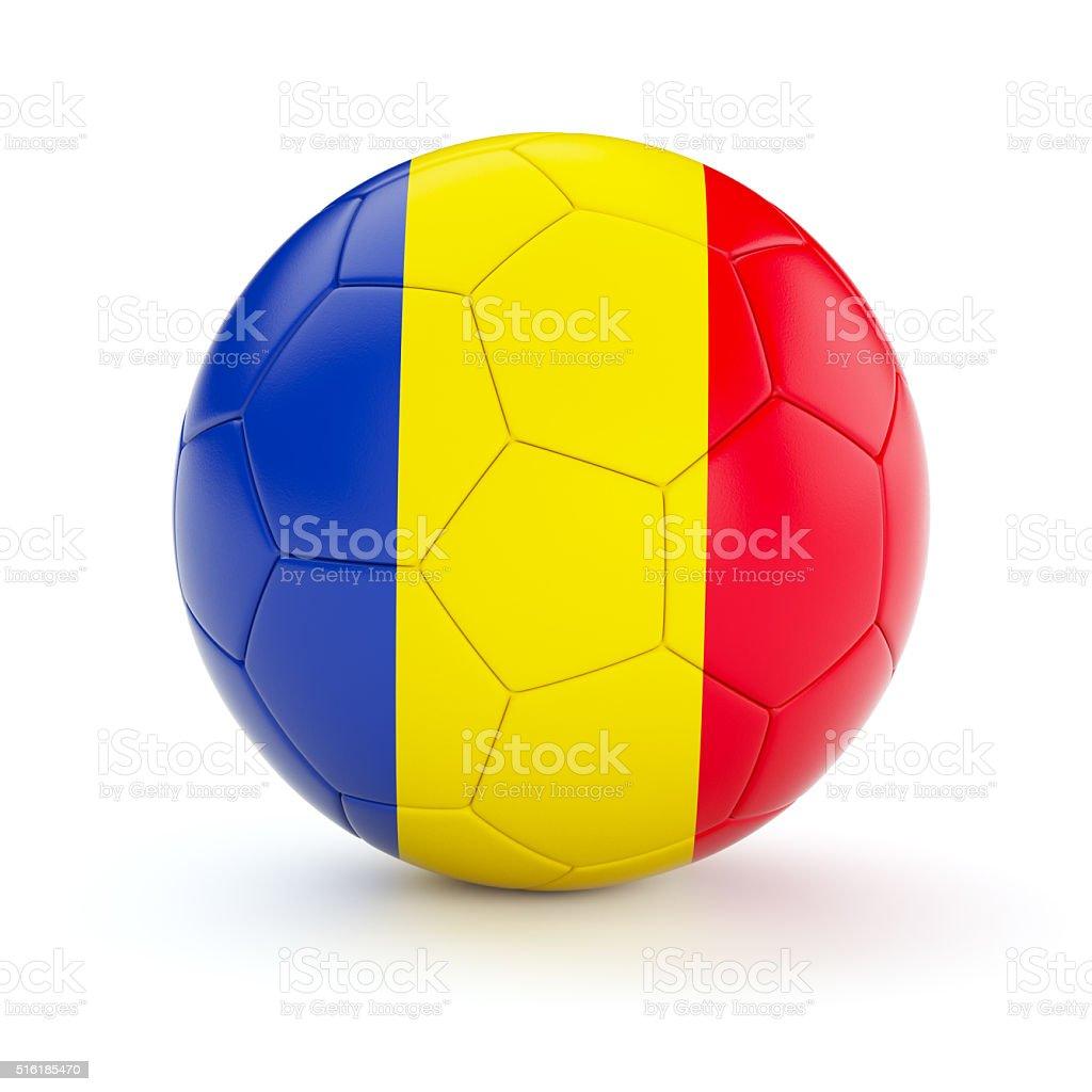 Soccer football ball with Romania flag stock photo