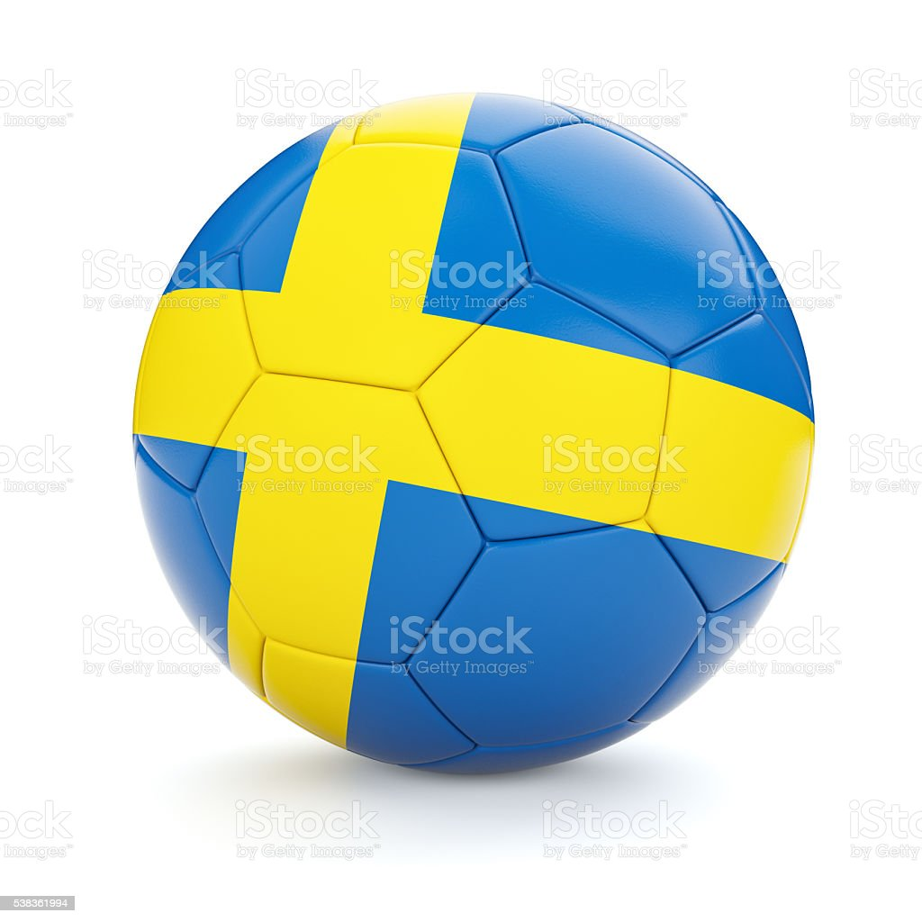 Soccer football ball with Sweden flag stock photo