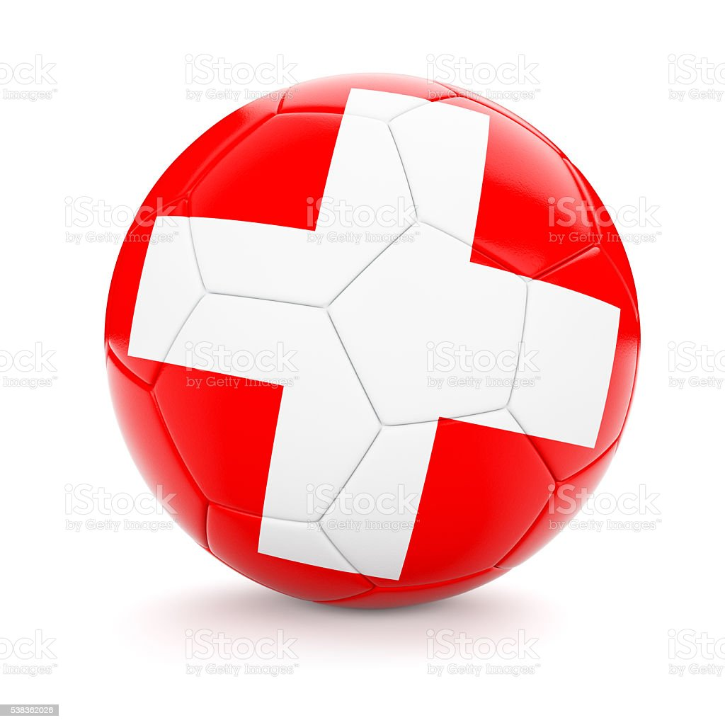 Soccer football ball with Switzerland flag stock photo