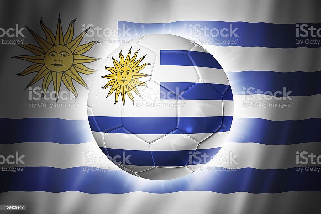 Soccer football ball with Uruguay flag stock photo