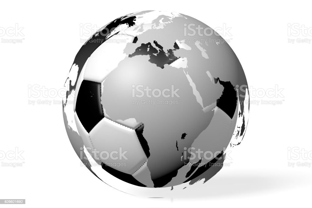3D soccer/ football championship concept stock photo