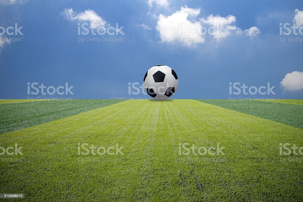 Soccer football field with ball stock photo