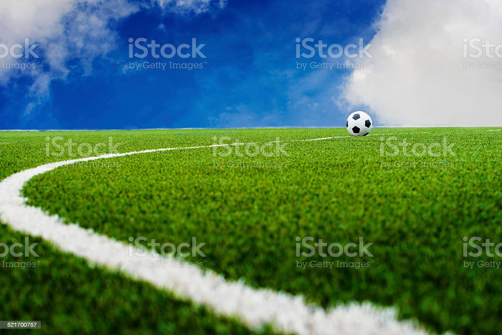 Soccer football field with sky stock photo