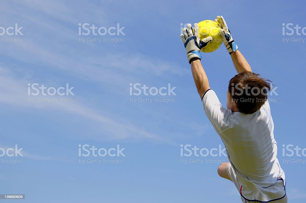 Soccer Football Goal Keeper making Save royalty-free stock photo