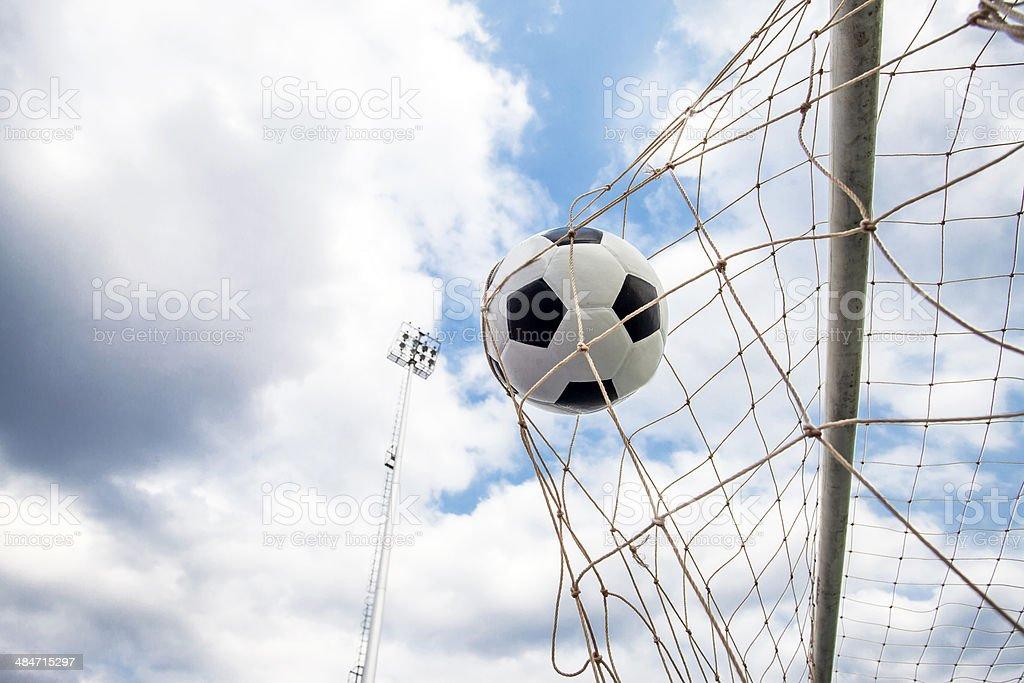 Soccer football Goal stock photo