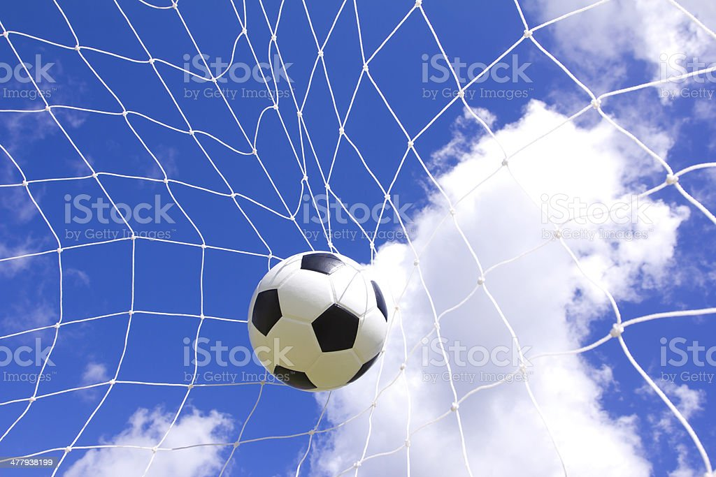 Soccer football in Goal net royalty-free stock photo