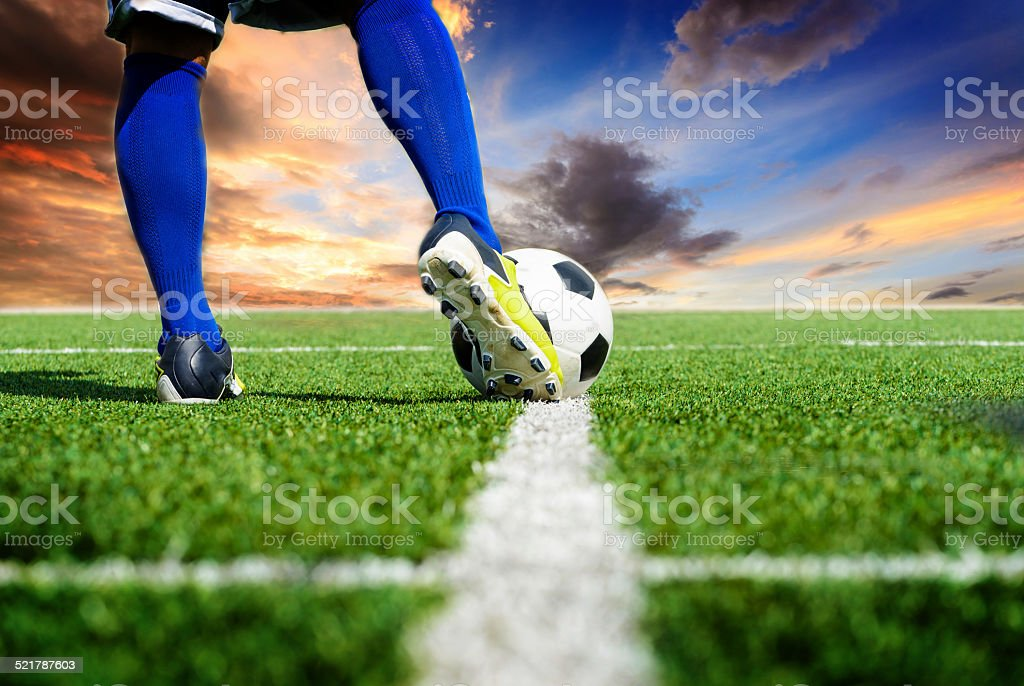 Soccer football kick-off stock photo