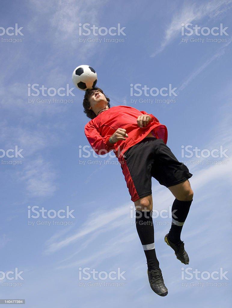 Soccer Football Player making Header stock photo