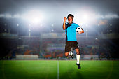 soccer football player young man happiness holding ball jump