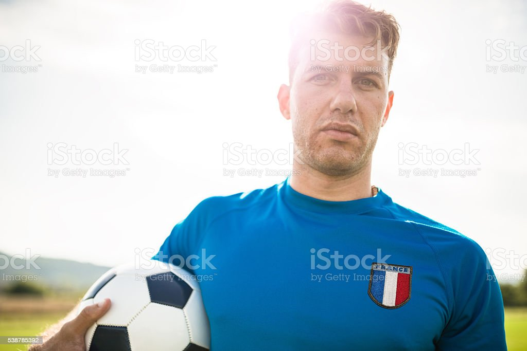 Soccer french player portrait stock photo