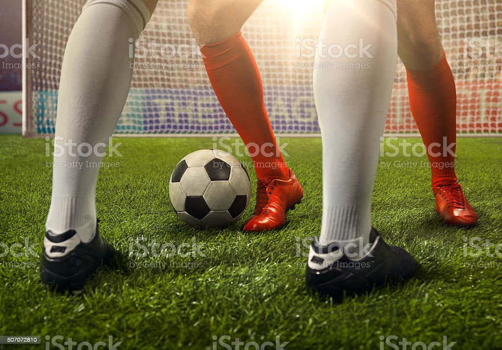 Soccer game moment stock photo