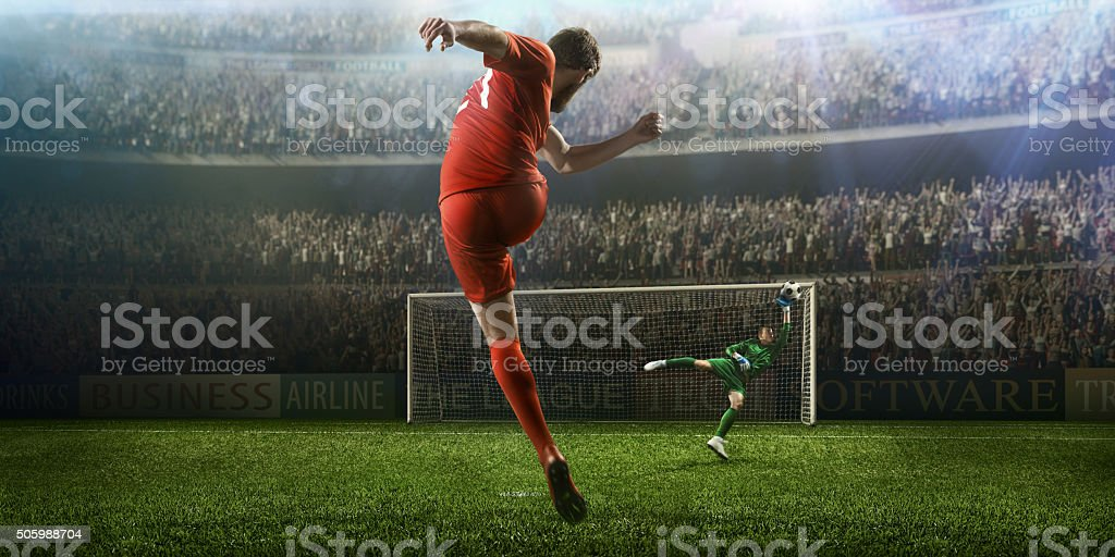 Soccer game moment with goalkeeper' stock photo