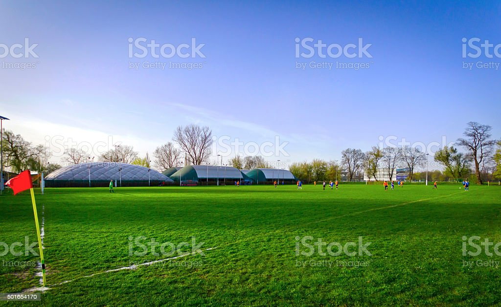 Soccer game stock photo