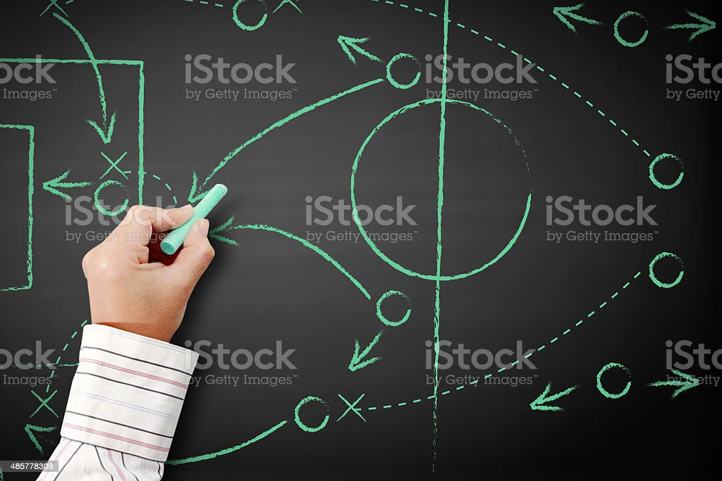 soccer game strategy drawn with chalk on a blackboard. stock photo