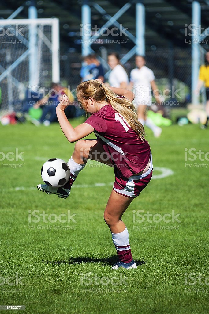 Soccer Girl Soft Trap of Ball royalty-free stock photo