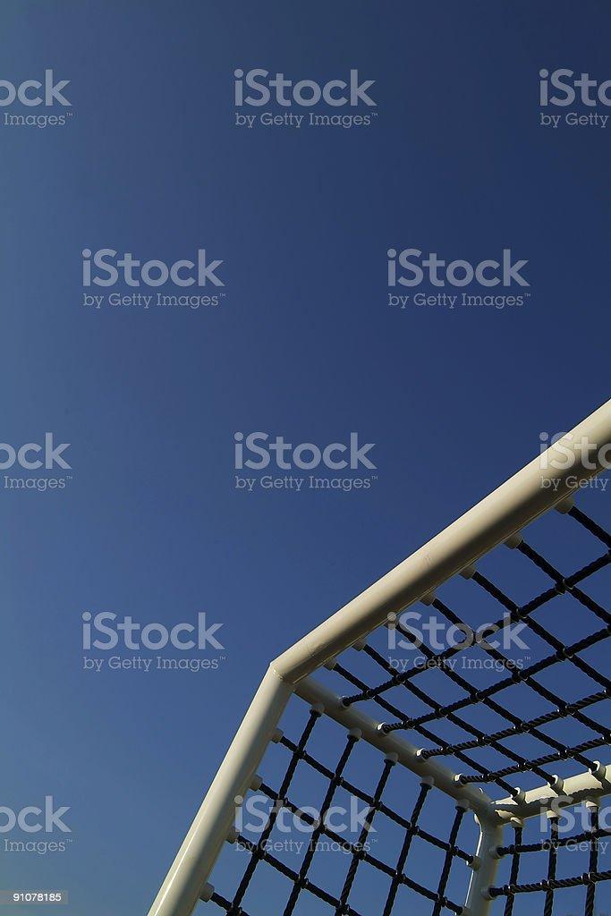 Soccer goal against blue sky stock photo