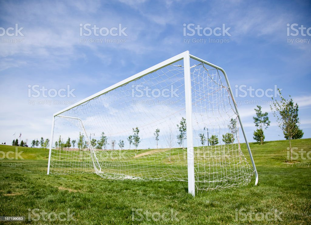 Soccer Goal and Blue Sky stock photo