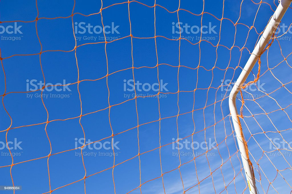 Soccer Goal and Soccer Net at Soccer Game royalty-free stock photo