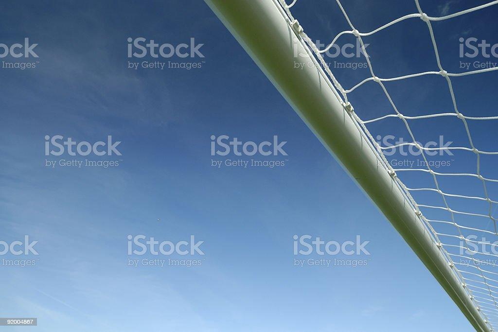 Soccer goal crossbar with blue sky stock photo