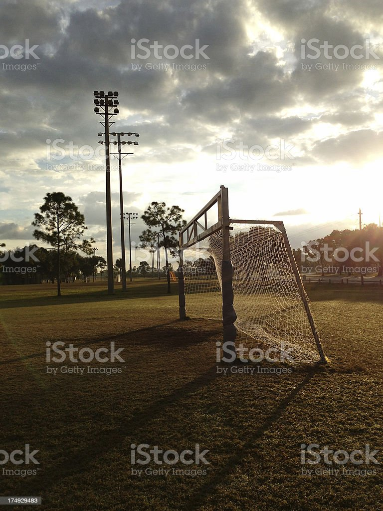 Soccer goal in early morning light royalty-free stock photo