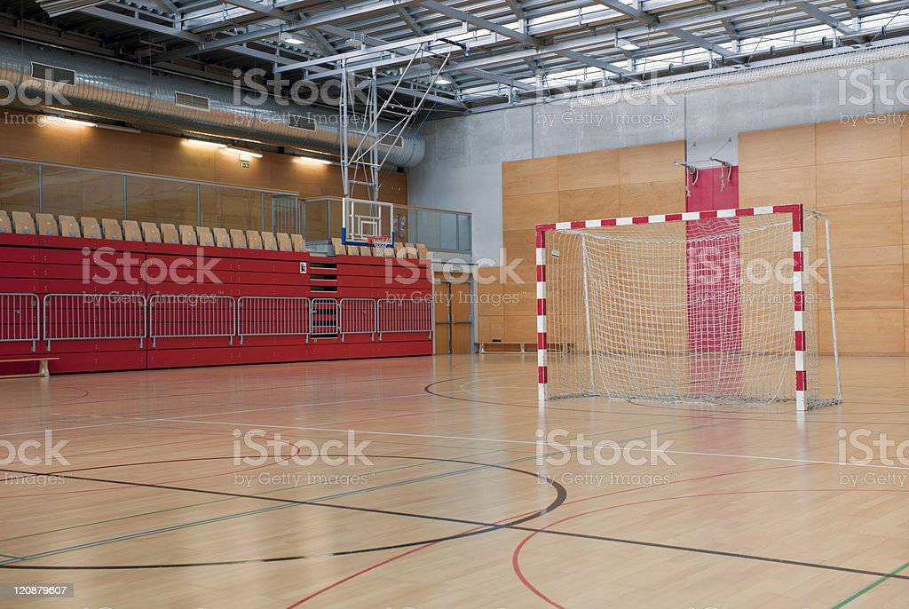 Soccer Goal in Red Sports Hall royalty-free stock photo