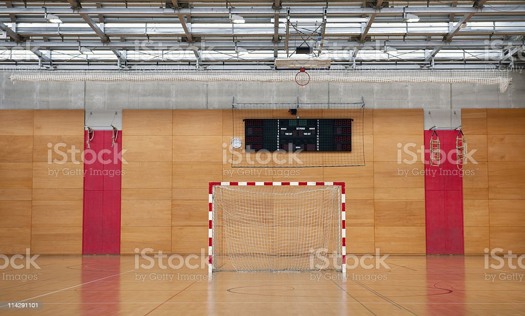 Soccer Goal in Sports Hall with Metal Roof royalty-free stock photo