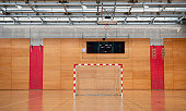 Soccer Goal in Sports Hall with Metal Roof