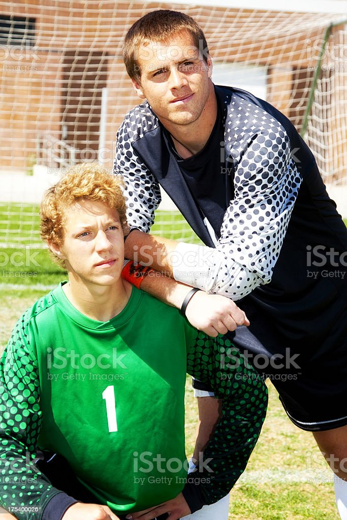 Soccer Goal Keeping Duo royalty-free stock photo