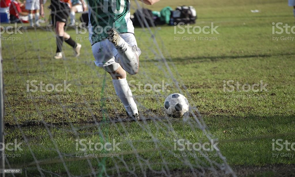 Soccer goal kick royalty-free stock photo