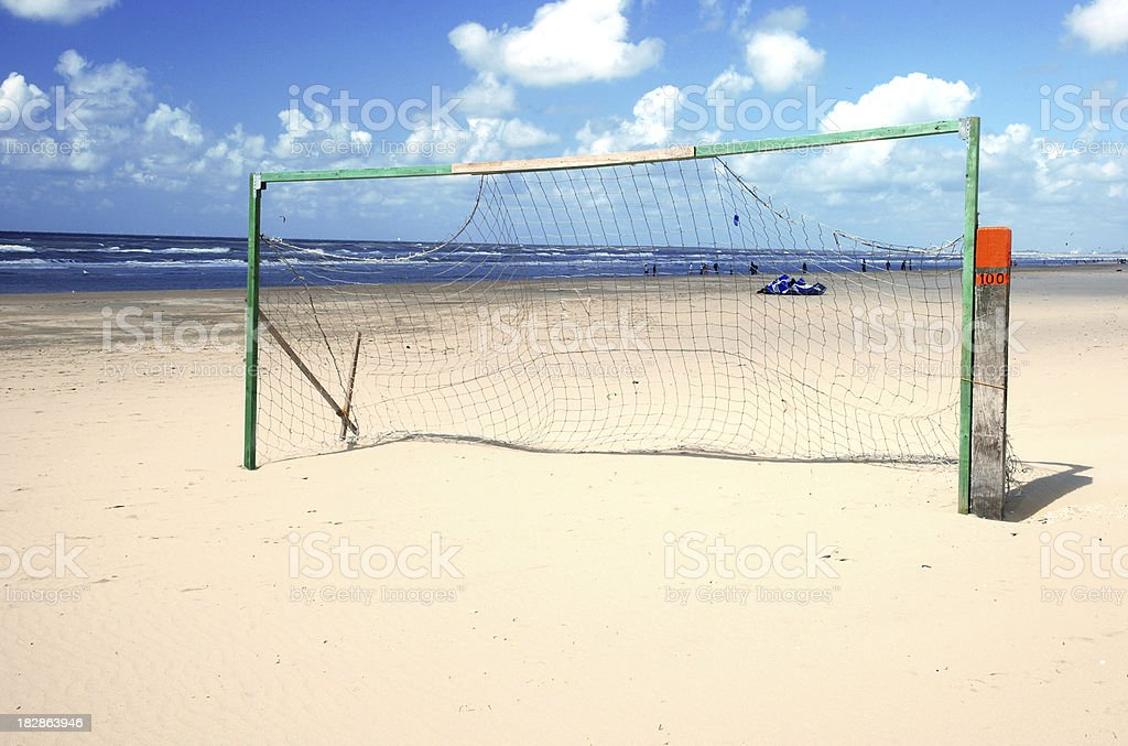 Soccer goal on a beach stock photo